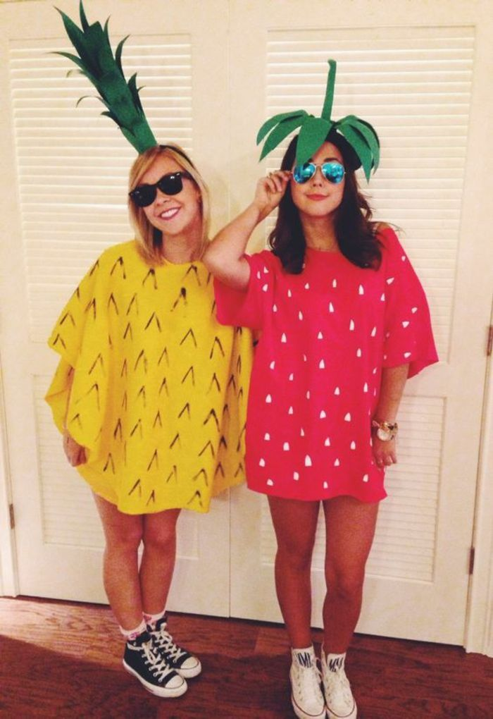 diy-carnival costumes-as-pineapple-and-strawberry-with-blouses-turn schue-and-sunglass ...