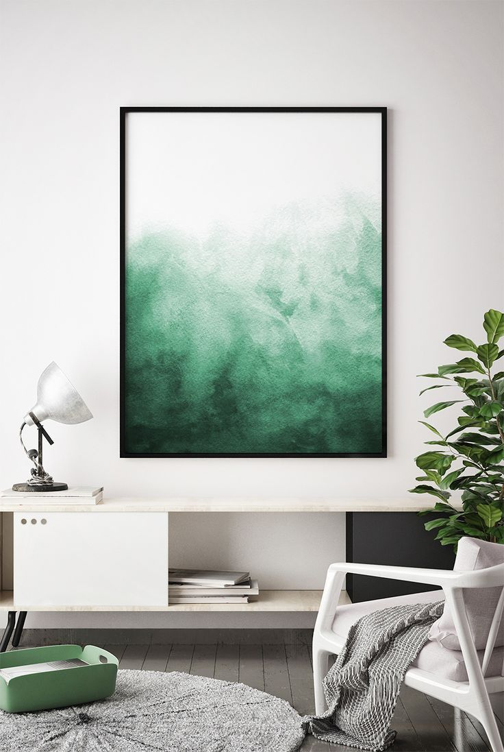 Abstract Watercolor Wall Art Watercolor Print, Watercolor Green Painting Modern ...