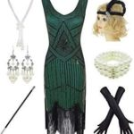1920s Gatsby Sequin Fringed Paisley Flapper Dress with 20s Accessories Set -- Yo...