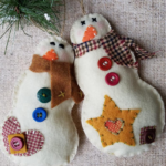 Felt Snowman Ornaments - Snowman - Country Snowman - Rustic Christmas Ornaments ...