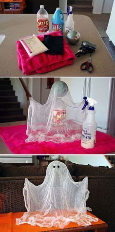 It's so easy to make spooky ghosts out of a cloth and spray glue. The...