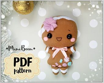 Gingerbread Girl felt pattern Christmas pattern felt Gingerbread girl PDF patter...