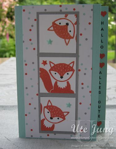 "Children's card with the stamp set ""Foxy Friends"""