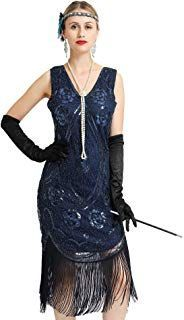 1920s Flapper Dress Sexy Sequin Fringe Great Gatsby Cocktail Dress 5 Accessories...