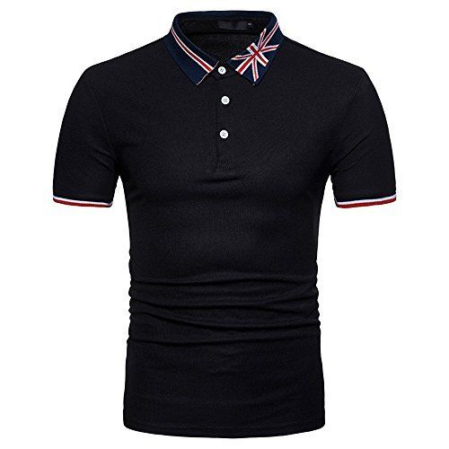 Berimaterry Men's T-Shirt Shirt Basic Short Sleeve Print Lapel T-Shirt Casual Loose ...