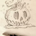 Halloween pumpkin with candle wax sketch as a basis for later coloring Photoshop...