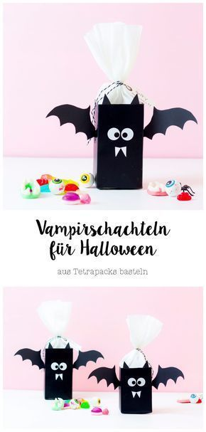 Make vampire boxes out of tetra packs for Halloween - surprise bags