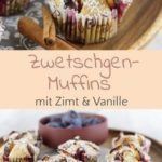 Plum muffins with cinnamon and vanilla