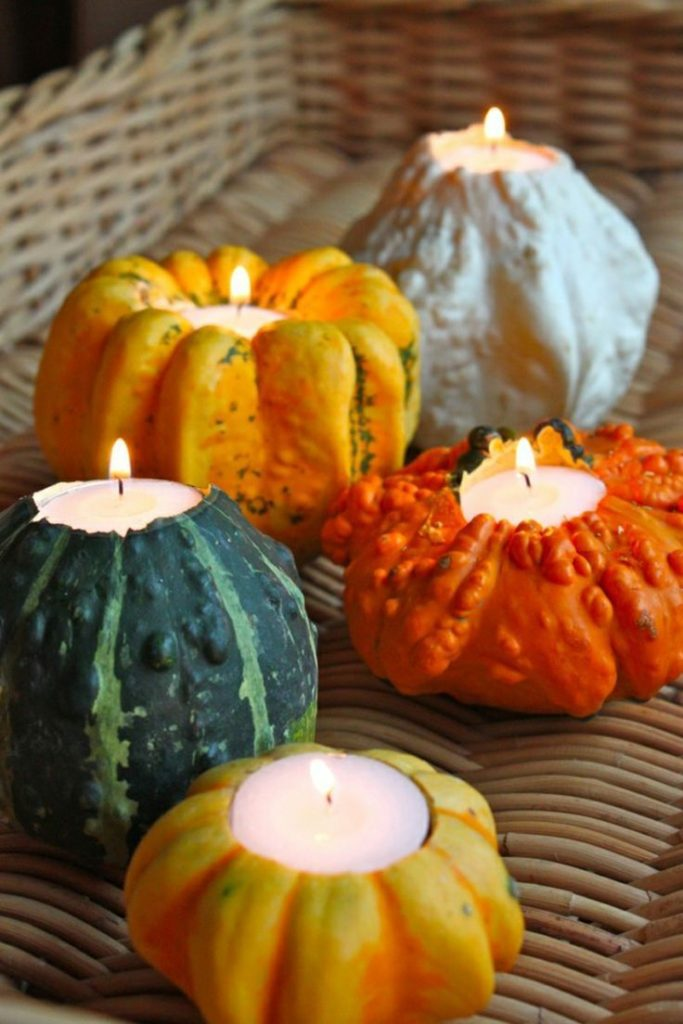 Make autumn decorations - candles for elegant lighting