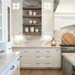Partial open kitchen cabinets mixed with regular kitchen cabinets. Wood mixed wi...