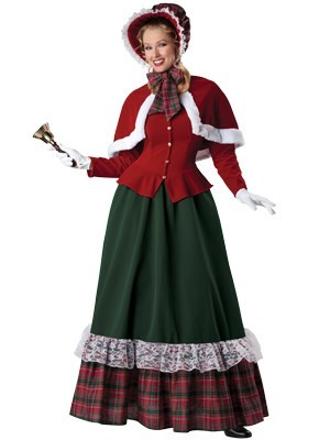 Includes flocked velvet dress with lace and plaid trim, capelet with faux fur, t...