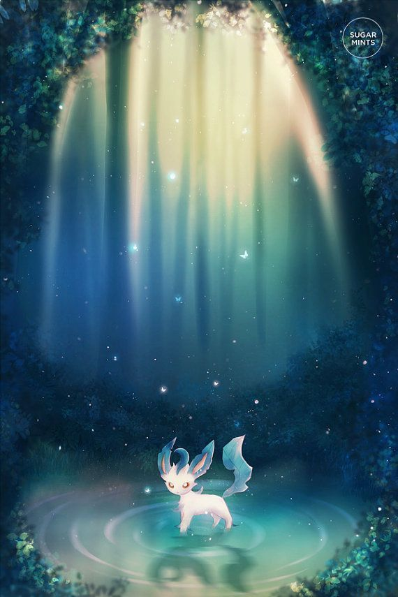 Pokemon Leafeon poster with my own illustration. In Photoshop Digital ...