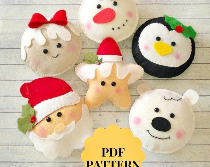 Christmas ornaments pattern 20 Christmas patterns felt Santa pattern that PDF Set Christmas ornaments f ...