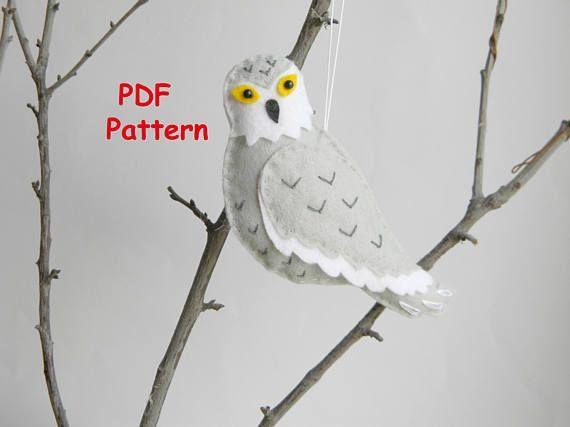 PDF Snowy owl pattern Felt owl christmas ornament  Softie