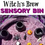 Witch's Brew Sensory Rice Bin for Halloween for toddlers and preschoolers. A fun...