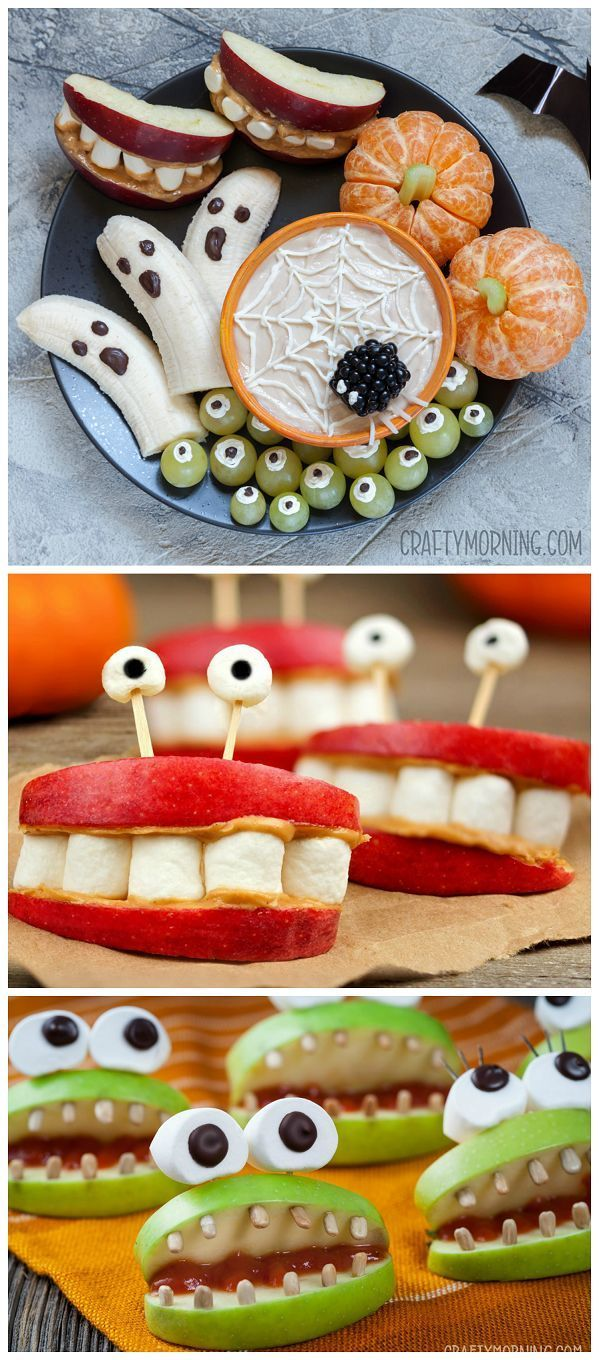 Healthy halloween snack ideas for the kids! Pumpkin cuties, cyclops grapes, mons...