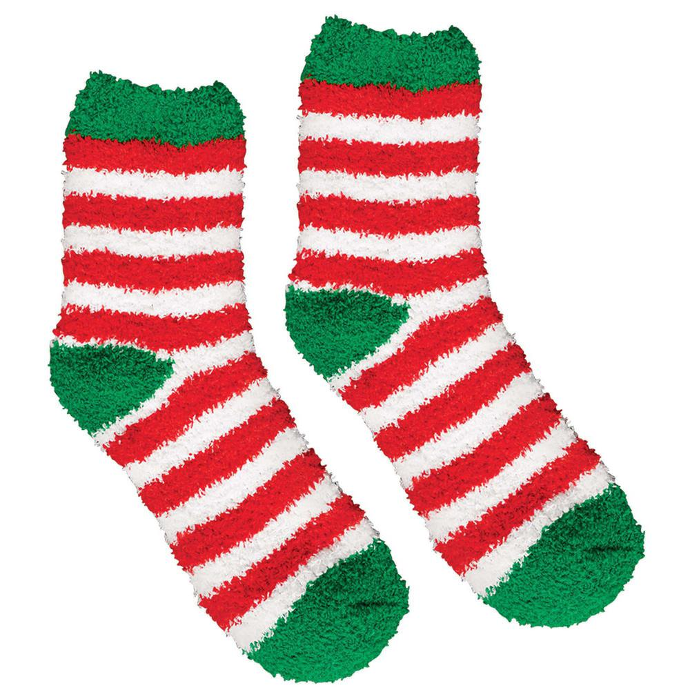 Amscan 13.5 in. Striped Christmas Fuzzy Socks (2-Count, 4-Pack)-397636