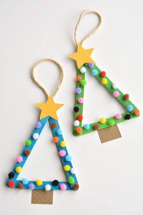 DIY Christmas Tree Decorations with Kids Craft colorful and happy made of ice sticks ...