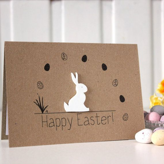 Handmade Card Easter Bunny Card Easter Rabbit Card Easter Easter Bunny. happ ...