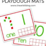 Candy Cane Playdough Mats for Number Practice {Free Printables