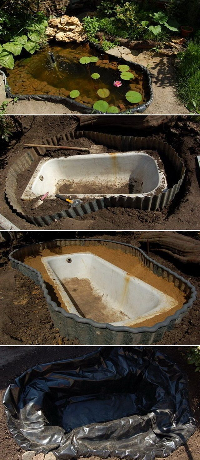 How to transform an old claw foot bath into a charming garden pond