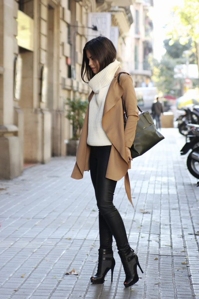 beige coat, white knit turtleneck, black leather leggings, black leather boots ...