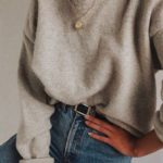Jeans, belt, beige sweater, simple necklace, casual fall and winter outfit, scho...