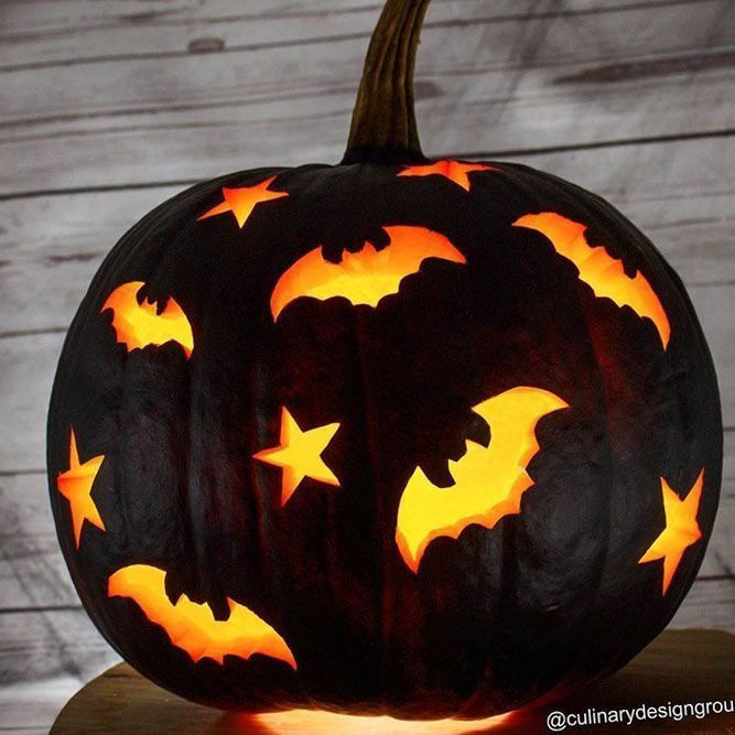Black Pumkin Carving Idea With Bats ★ Want to impress everyone with fascinatin...