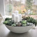 Advent wreath concrete bowl with succulents and 4 white candles ... Christmas decoration