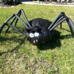 Giant spider made of garbage bags and foam rollers