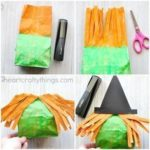 This stuffed paper bag witch craft makes a fun Halloween kids craft, fall craft ...