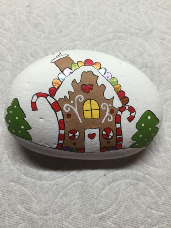 Easy and Fun Christmas Crafts for Kids to Make at School - Gingerbread Painted Rocks