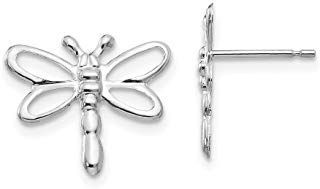 14k White Gold Dragonfly Post Stud Earrings Animal Insect Fine Jewelry Gifts For...
