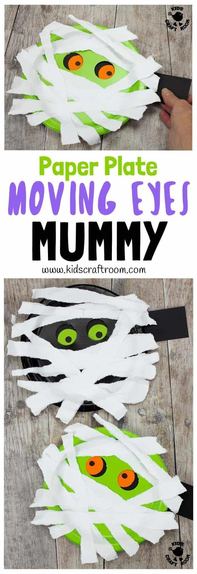 MOVING EYES PAPER PLATE MUMMY CRAFT Halloween crafts are great but interactive H...