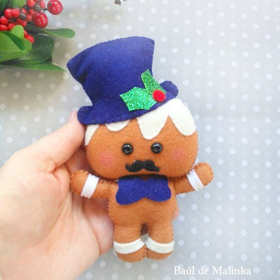 PDF Pattern Felt Gingerbread Christmas ornaments Christmas | Etsy