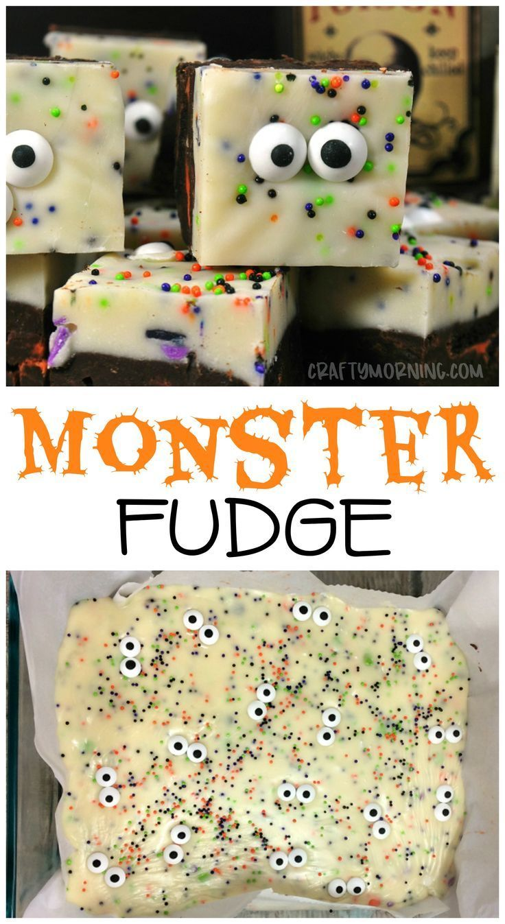 Halloween monster fudge...what a fun halloween treat to make for parties or the ...