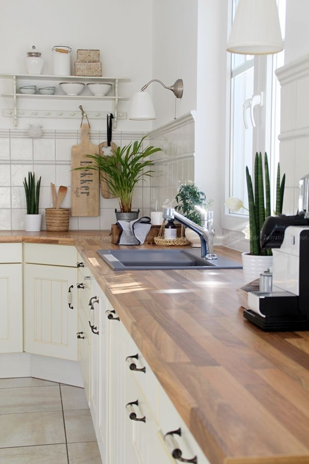 White Kitchen Wood Accessories Plants Living Interior Kitchen Styling Design