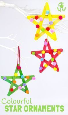 These colorful pom pom popsicle stick stars look great ... #colorful #this #p ...