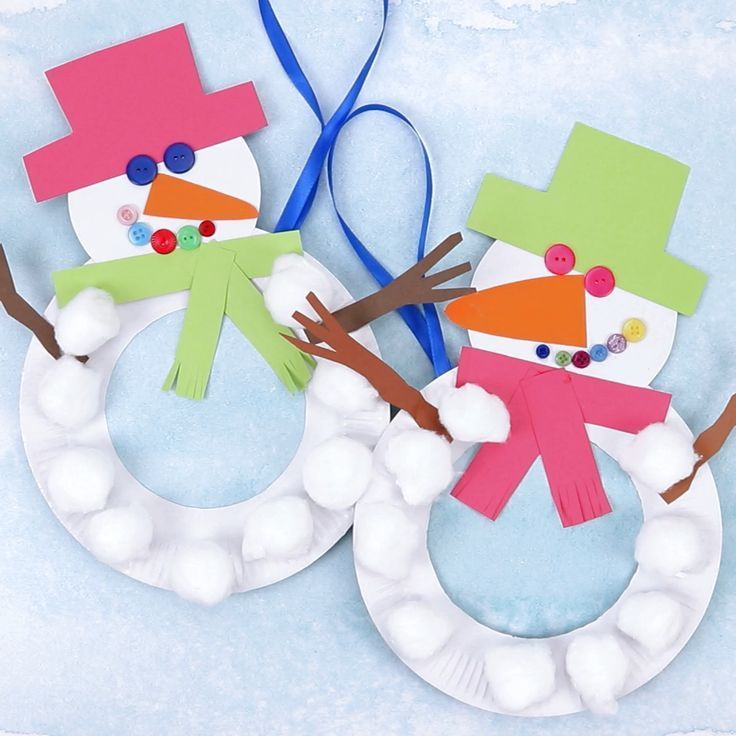 This paper plate snowman wreath is adorable! With button eyes and a cheeky smile