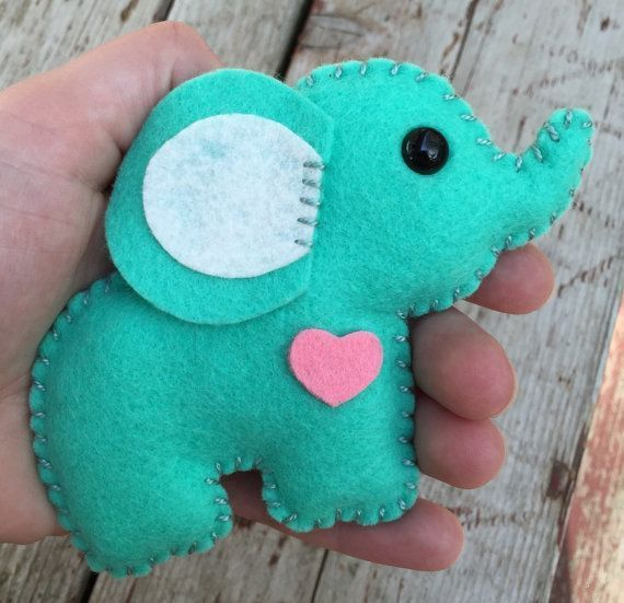 Wool Felt Elephant Christmas Ornament Keychain Portable by feltloved - Christmas ...