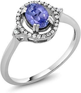 Gem Stone King 1.00 Ct Stunning Oval Tanzanite Gemstone 925 Sterling Silver Jewe...