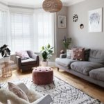 Scandi-style living room in Farrow & Ball Pavilion gray and the La Redoute Berb