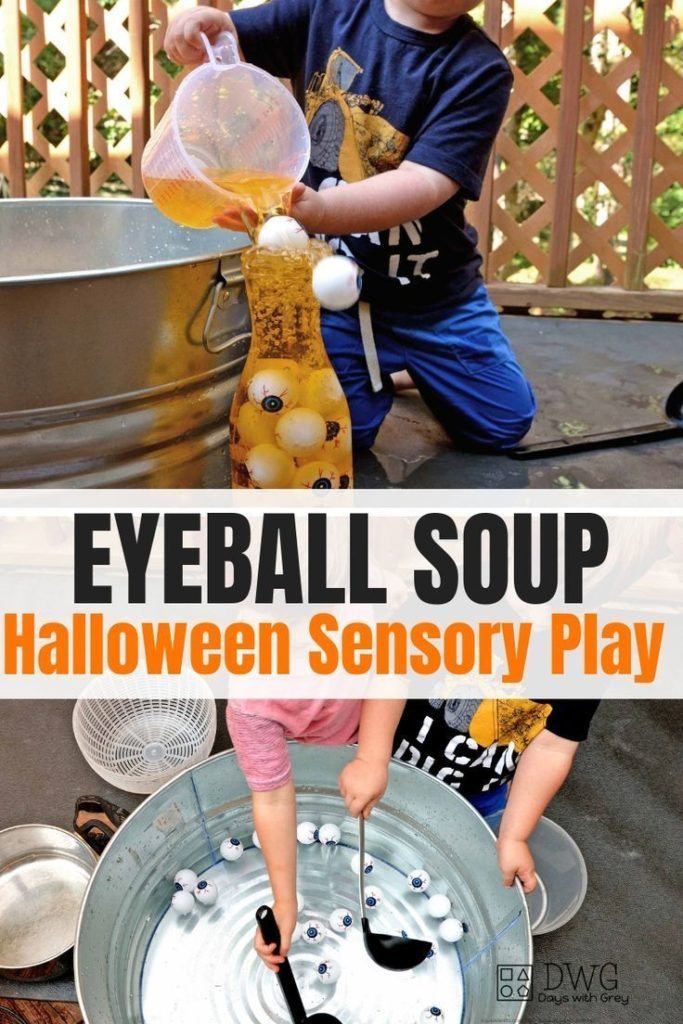 Halloween Sensory play for preschoolers. Water play for fall. Sensory bin for fa...