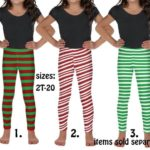 Elf Kids Leggings Christmas Costume Outfit Striped Athletic Tights Youth Party Cosplay Candy ...
