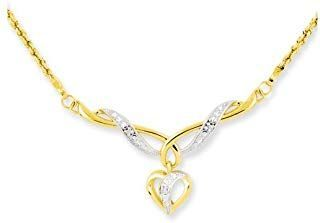 14kt 17 In Two Tone Yellow Gold Dangle Heart Link Rope Chain Necklace Inch Penda...