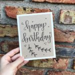 "Single hand lettered birthday card. Card size is 5"" x 6.5"". Off-white card w..."