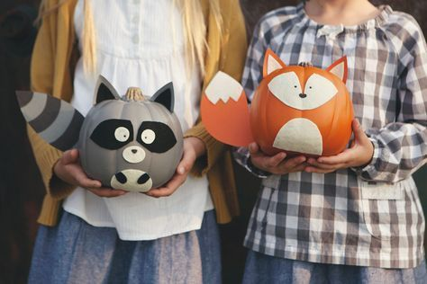 Crafts with children autumn pumpkins raccoon fox felt faces