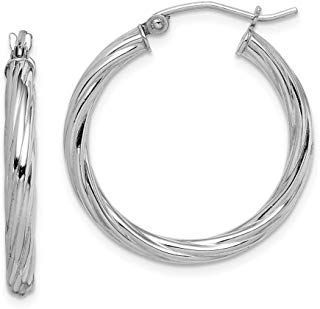 925 Sterling Silver 2.7x25mm Twisted Hoop Earrings Ear Hoops Set Fine Jewelry Gi...