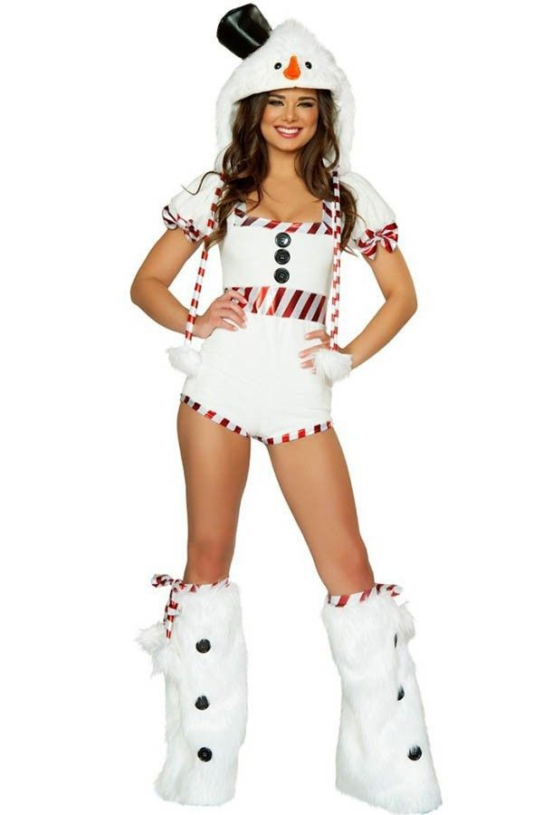 Women White Short Sleeve Hooded Cute Snowman Costume - One Size