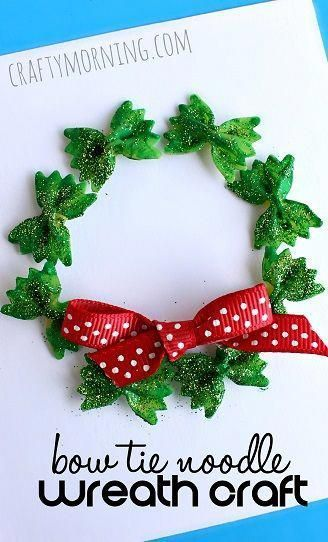 bow-tie-noodle-wreath-christmas-craft-for-kids- #christmasideasforkids